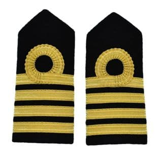Epaulette Merchant Navy Chief Hard Curved Round Curl 4 Bars